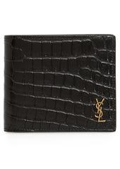 Yves Saint Laurent Saint Laurent East/West Croc Embossed Leather Bifold Wallet