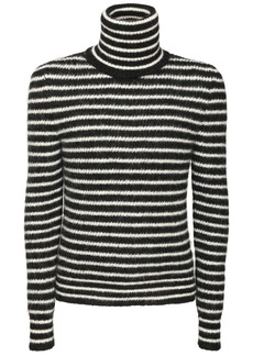 Yves Saint Laurent Stripe Mohair Blend Turtleneck Sweater