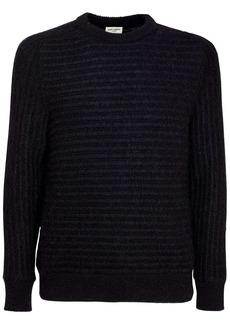 Yves Saint Laurent Striped Jacquard Knit Wool Blend Sweater