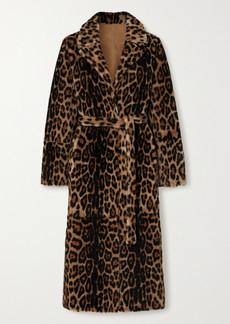 Yves Salomon Belted Reversible Leopard-print Shearling Coat