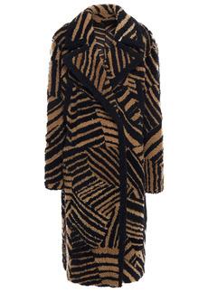 Yves Salomon Woman Tiger-print Shearling Coat Black