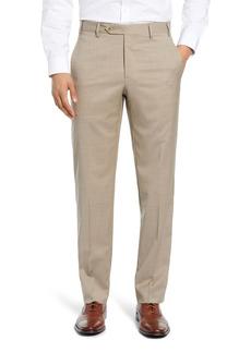 Zanella Devon Flat Front Classic Fit Solid Wool Serge Dress Pants