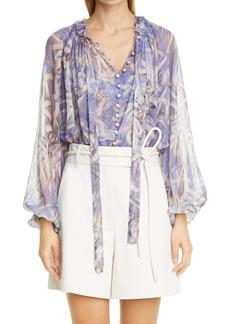 Zimmermann Botanica Sheer Silk Swing Blouse