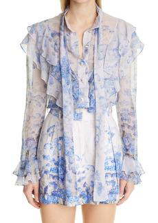Zimmermann Floral Ruffle Long Sleeve Blouse
