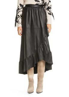 Zimmermann Ladybeetle Leather Midi Wrap Skirt
