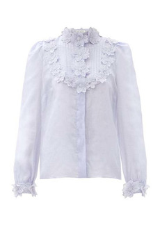 Zimmermann Lovestruck floral-appliqué ramie blouse