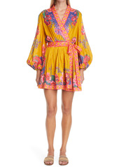 Zimmermann Paisley Floral Long Sleeve Linen Wrap Minidress