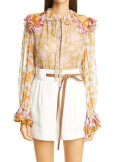 Zimmermann The Lovestruck Floral Ruffle Silk Blouse