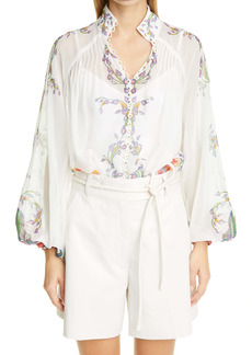 Zimmermann The Lovestruck Paisley Floral Cotton & Silk Blouse