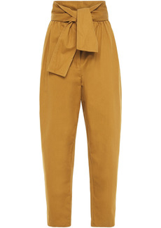 Zimmermann Woman Belted Cotton-twill Tapered Pants Mustard