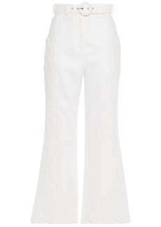 Zimmermann Woman Belted Embroidered Linen Kick-flare Pants White