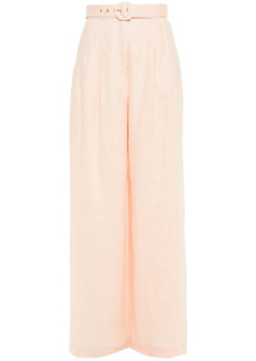 Zimmermann Woman Belted Pleated Linen Wide-leg Pants Blush