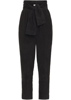 Zimmermann Woman Belted Suede Tapered Pants Black