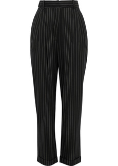 Zimmermann Woman Espionage Pleated Pinstriped Wool-twill Tapered Pants Black