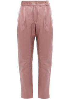 Zimmermann Woman Tempest Pleated Leather Tapered Pants Antique Rose