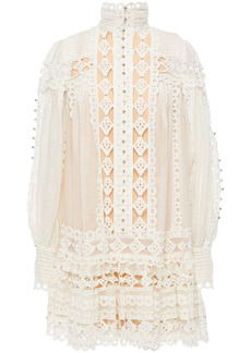 Zimmermann Woman Moncur Studded Broderie Anglaise Cotton And Gauze Mini Dress White