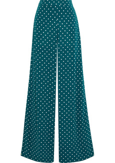 Zimmermann Woman Polka-dot Crepe Wide-leg Pants Teal