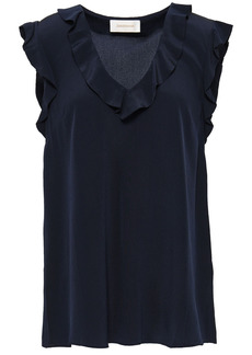 Zimmermann Woman Ruffled Silk Crepe De Chine Top Midnight Blue