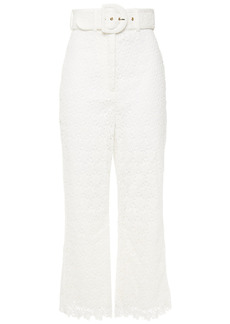 Zimmermann Woman Super Eight Belted Guipure Lace Kick-flare Pants White