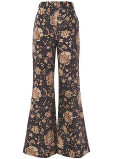 Zimmermann Woman Veneto Printed Linen Flared Pants Dark Brown