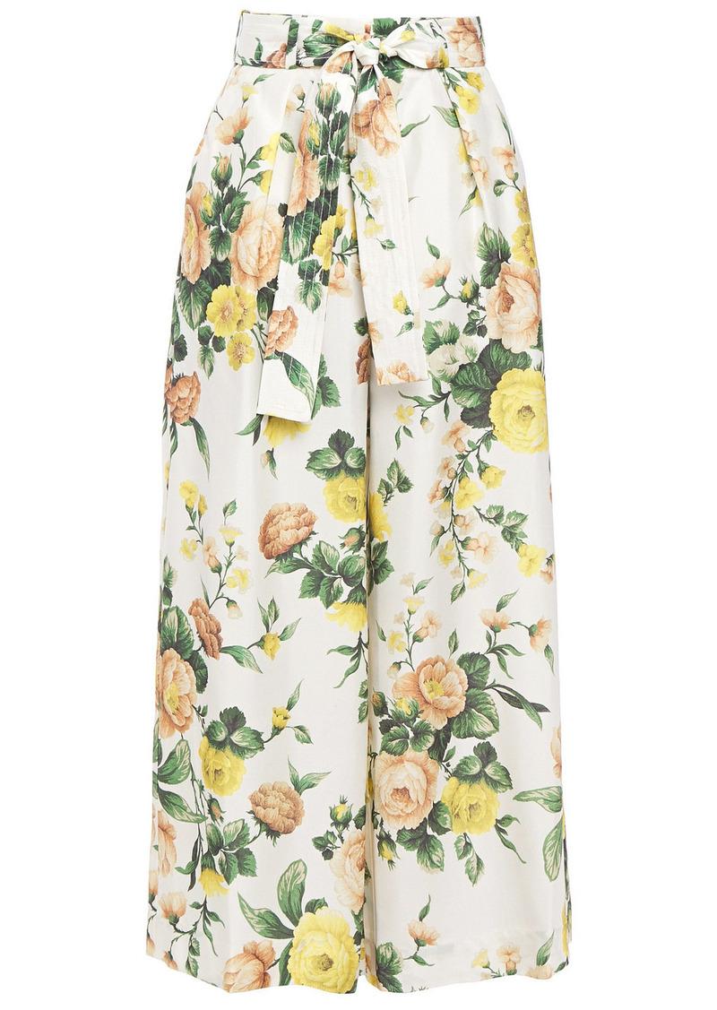 Zimmermann Woman Zippy Floral-print Silk Culottes Ivory
