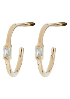 Zoë Chicco Baguette Diamond Vertical Huggie Earrings