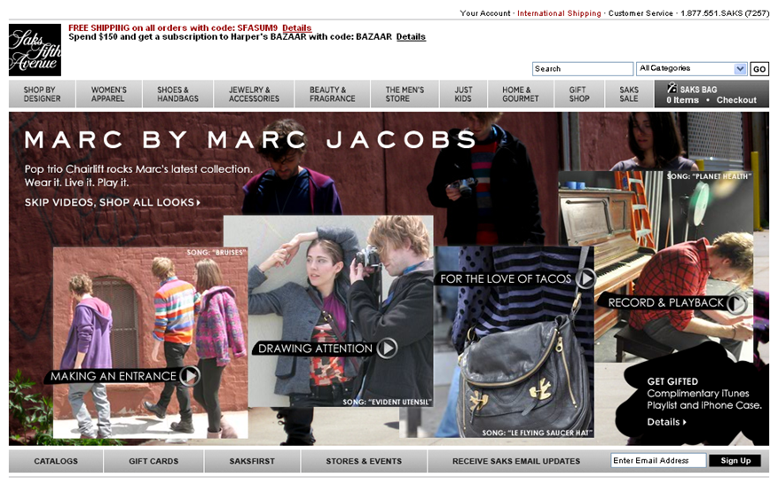 Saks.com Mixing It Up - Music, Marc by MJ, and Chairlift
