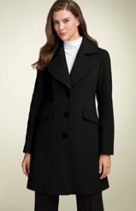 DKNY Wool Blend Walking Coat