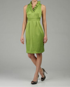 London Times Solid Green Dress