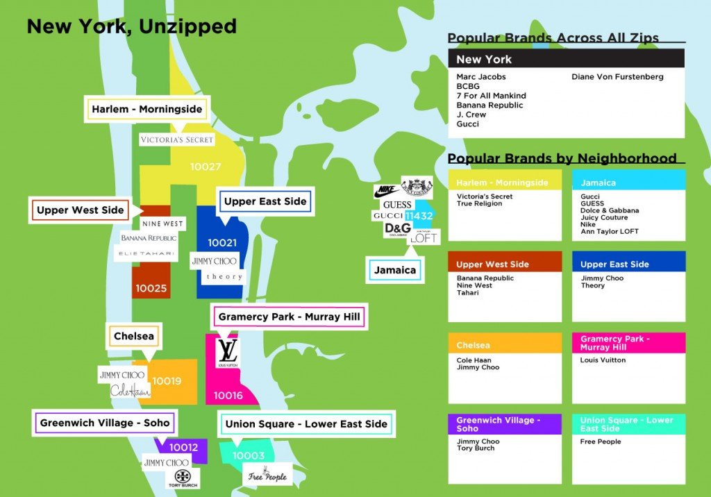 Popular brands by NYC zipcode