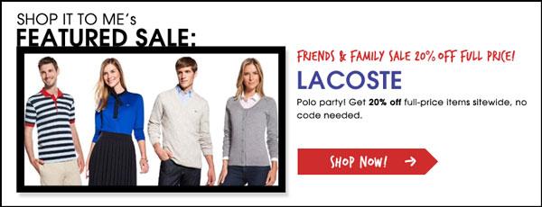 Lacoste Friends & Family Sale
