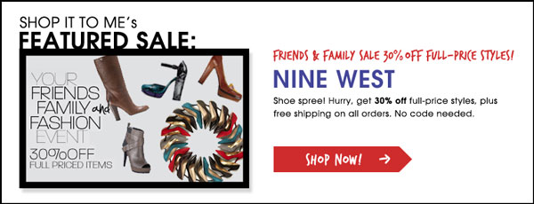 Nine West 30% off sale plus free shipping