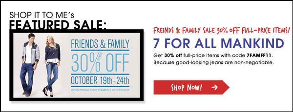 7 For All Mankind Friends & Family Sale