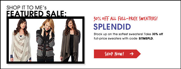 Splendid 30% off all full-price sweaters
