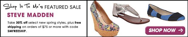 Steve Madden 30% off Spring Sale