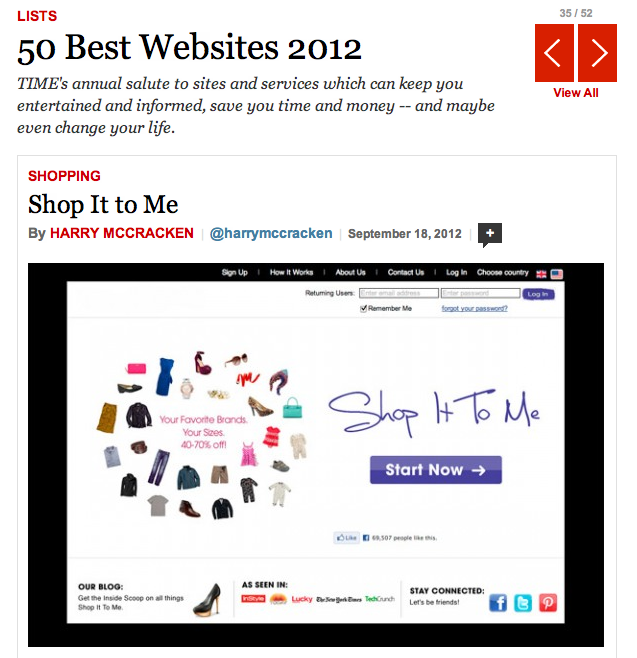 Shop It To Me named one of Time's Best 50 Websites of 2012