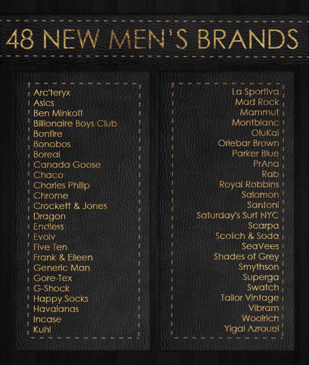 New Brands for Men: Bonobos, Swatch, Shades of Grey, & 45 More!