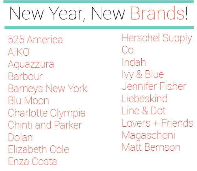 New Year, New Women's Brands!