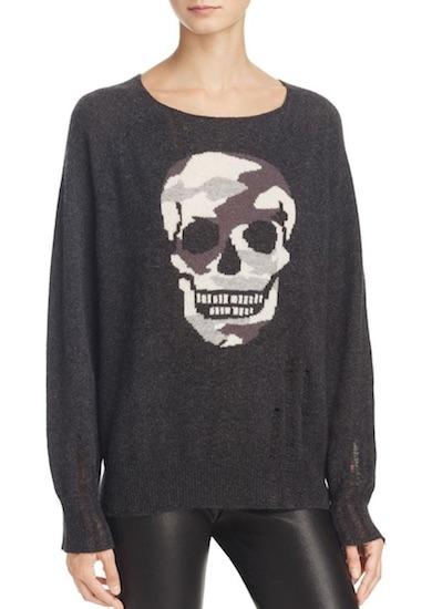 AQUA Cashmere Skull Sweater