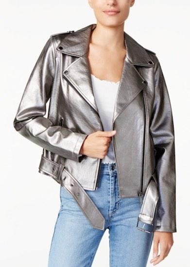 Guess Silver Moto Jacket