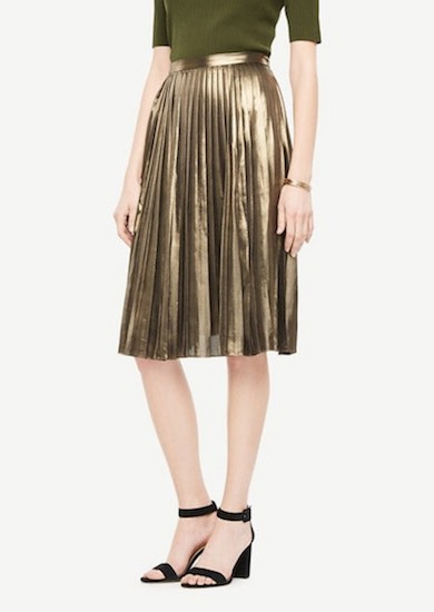 Ann Taylor Metallic Gold Skirt