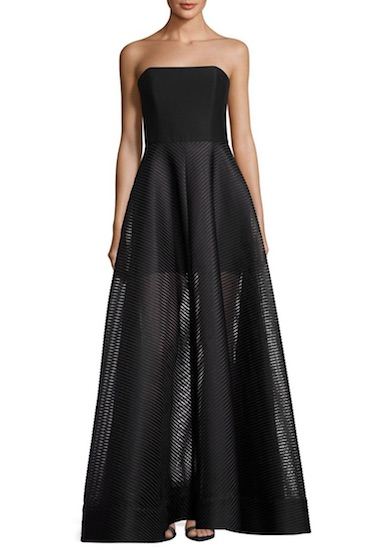 Halston Heritage Strapless Evening Gown