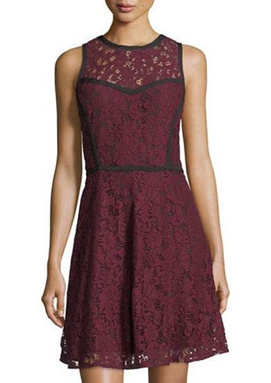 Michael Kors Sleeveless Lace A-Line Dress
