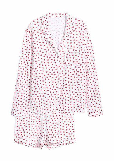 Heart Print Pajama Shirt and Shorts