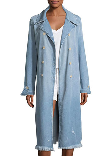 Double-Breasted Le Denim Trench Coat