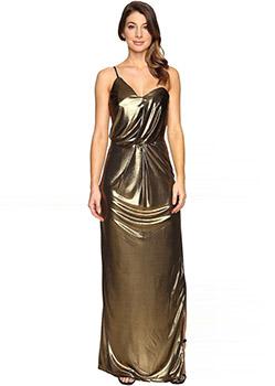 Asymmetrical Strap Metallic Jersey Gown