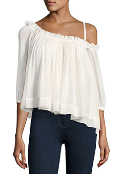 Colette one shoulder ruffle top