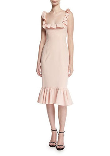 Opalina Square neck flounce hem cocktail dress
