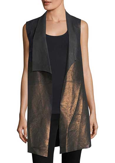 Long Metallic Leather Jersey Vest