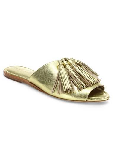 Kiki Tassel Metallic Leather Slides